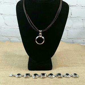 Jewelry - Black Onyx Bracelet and Pendant Set
